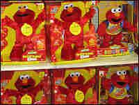 Talking Elmos on a store shelf