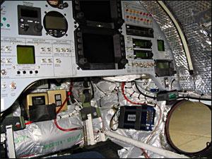 Inside the Virgin Atlantic Global Flyer cockpit. Credit: Greg Allen, NPR