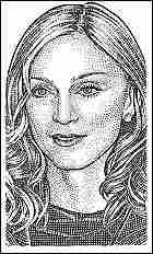 A stipple portrait of Madonna.