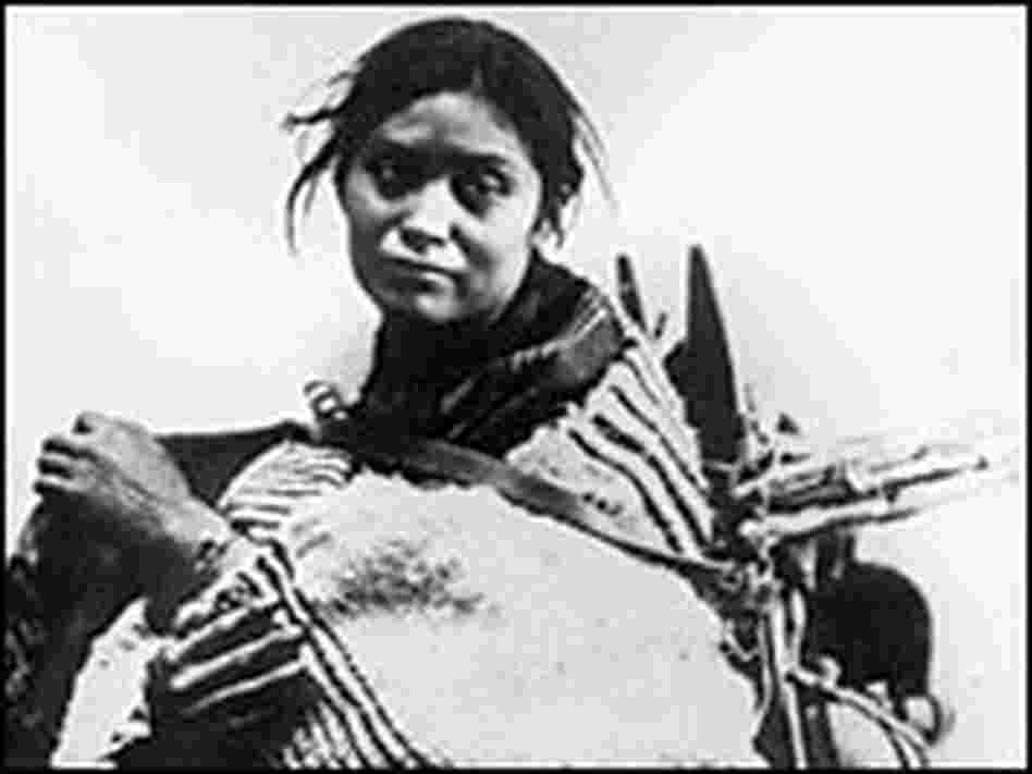 Najavo woman and baby at Bosque Redondo in New Mexico