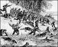 Union troops retreat from Ball's Bluff into the Potomac River.