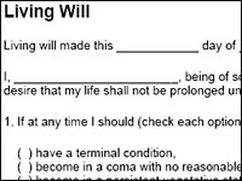 living will template free - schiavo case sparks interest in living wills npr