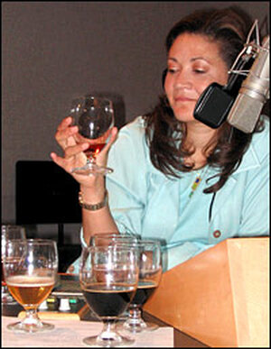 Michele Norris considers one of the beers in the test.