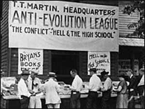Anti-evolution books for sale in Dayton, Tenn., during the 1925 Scopes trial.