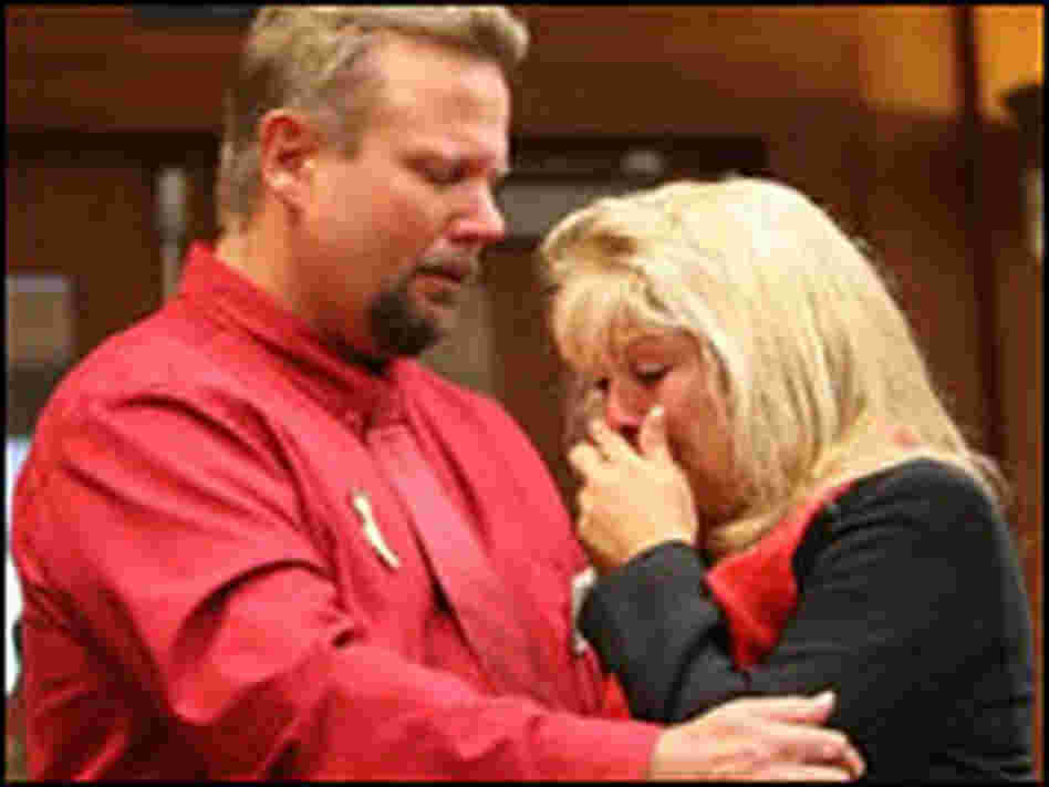 Debbie Smith and her husband, Greg, wore red to the Butte County court house in honor of  Matthew.