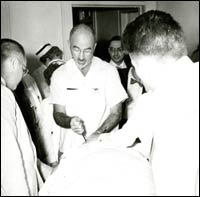 Dr. Walter Freeman operating on a patient, c. 1950.