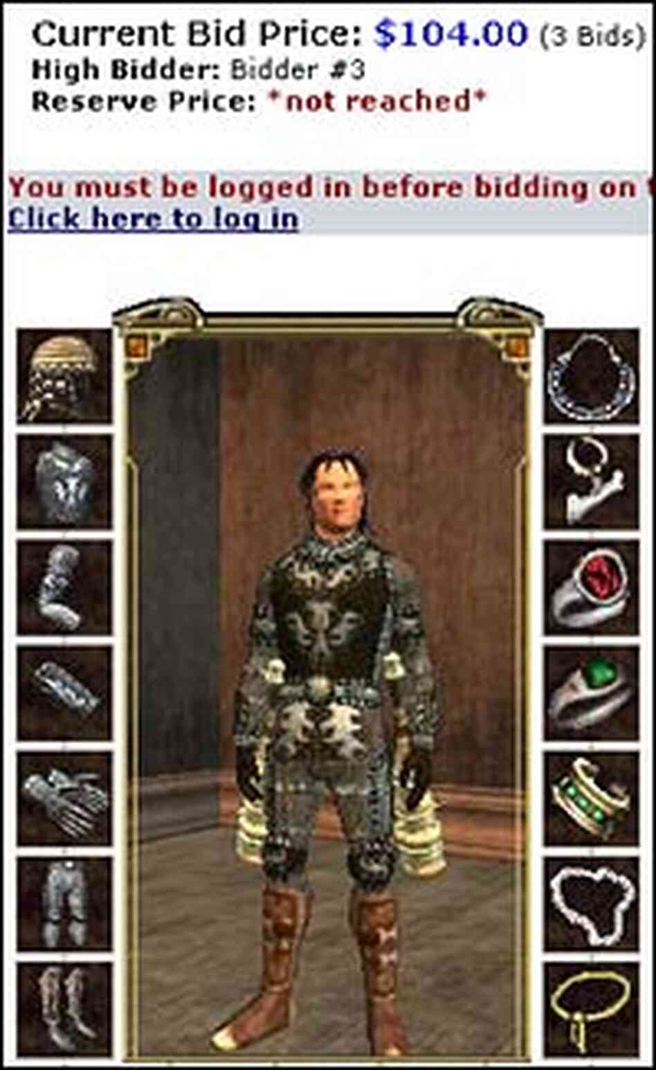 An online auction for a virtual human character in 'EverQuest II.'