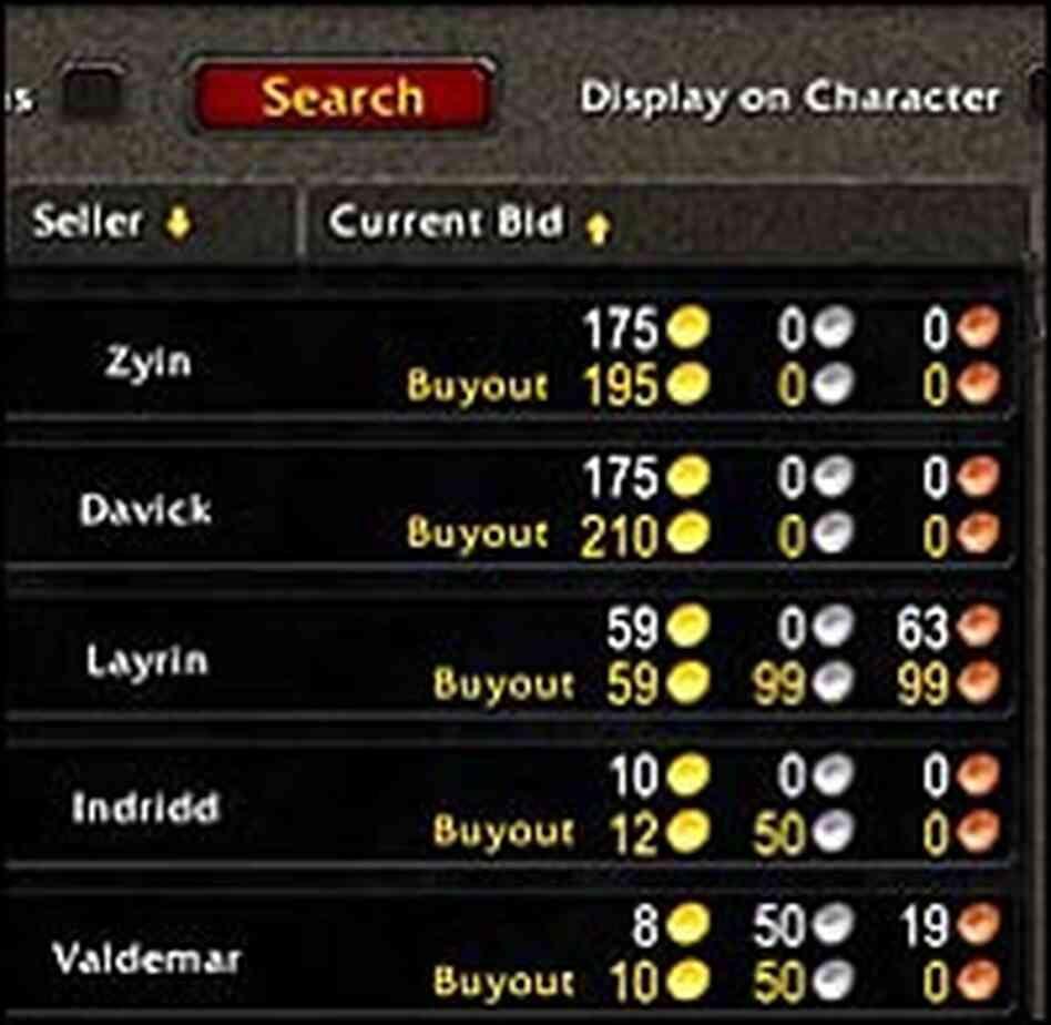 An auction for items within the World of Warcraft game shows prices, in virtual gold pieces.