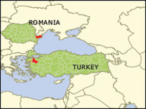 Red marks the sites of the recent outbreaks of H5N1 in Turkey and Romania