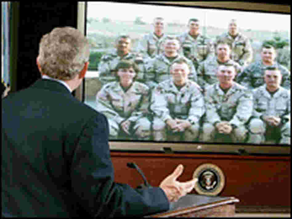 President Bush spoke with members of the 42nd Infantry Division National Guard unit in Iraq.