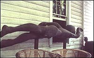The swimmer, an oak sculpture by Walter Anderson at Shearwater.