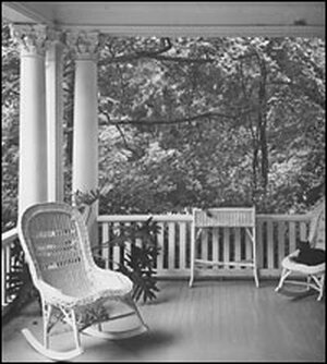 The front porch of a home in Hillsborough, N.C.,