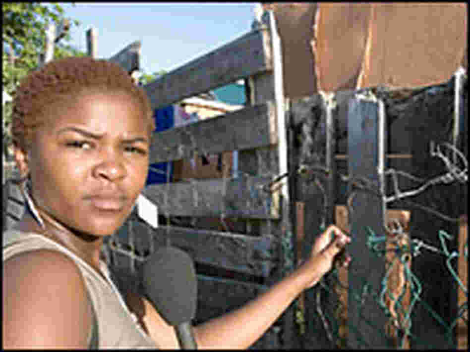 Thembi recording her audio diary in Khayelitsha township.