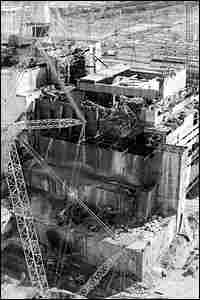 An aerial view of the fourth reactor of the Chernobyl nuclear plant
