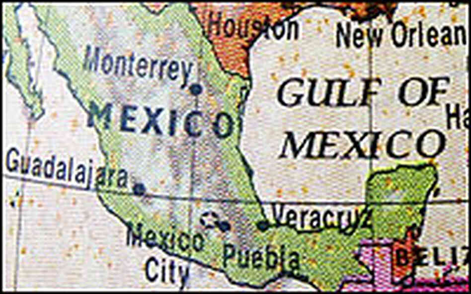 Detail of a multi-color map of North America, emphasizing Mexico.