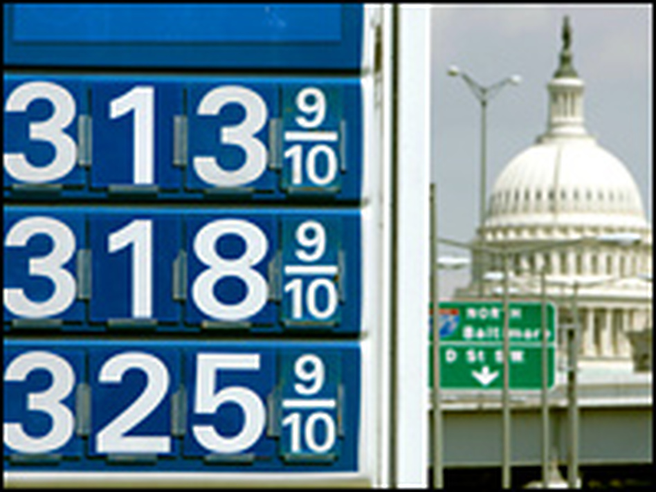 Gas prices are seen in Washington, D.C., with the Capitol in the background.