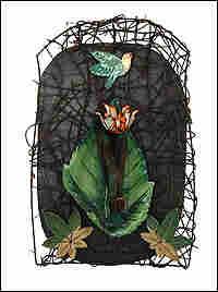 Lori Gordon's 'Rebirth,' shows a green bird on a green background.