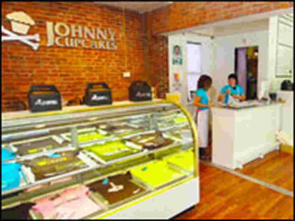 Inside the bakery-themed interior of the Johnny Cupcakes store on Boston's Newbury Street