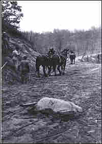 Building the lake road in Covert, Mich., circa 1900.