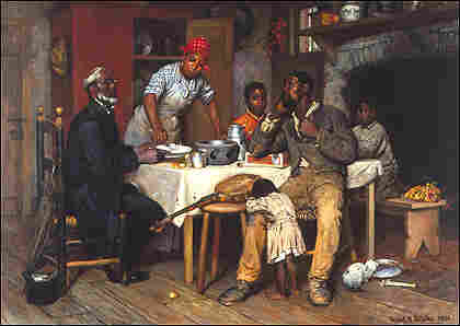 Painting shows blacks at a dining table with a banjo on one of the chairs.