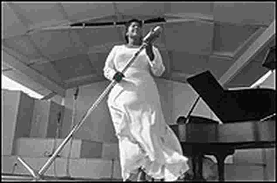 Mahalia Jackson performs.
