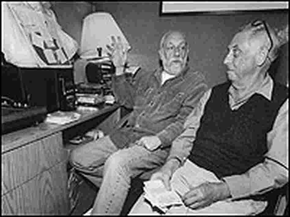 Joel Dorn and Lee Friedlander, surrounded by recording equipment.