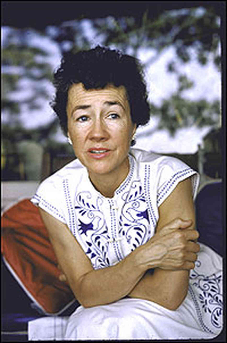 Anne Morrow Lindbergh photographed at home in Darien, Conn., in 1956.