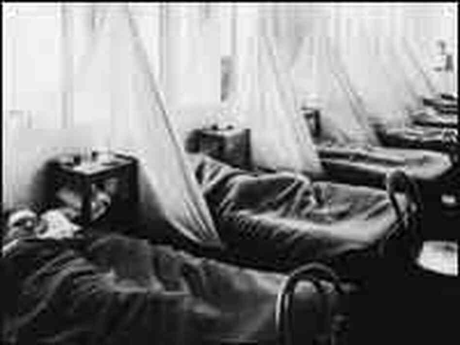 Patients lie in Influenza Ward No. 1 in U.S. Army Camp Hospital No. 45 in Aix-les-Baines, France
