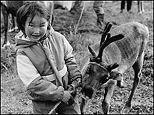 A young girl with a young reindeer.