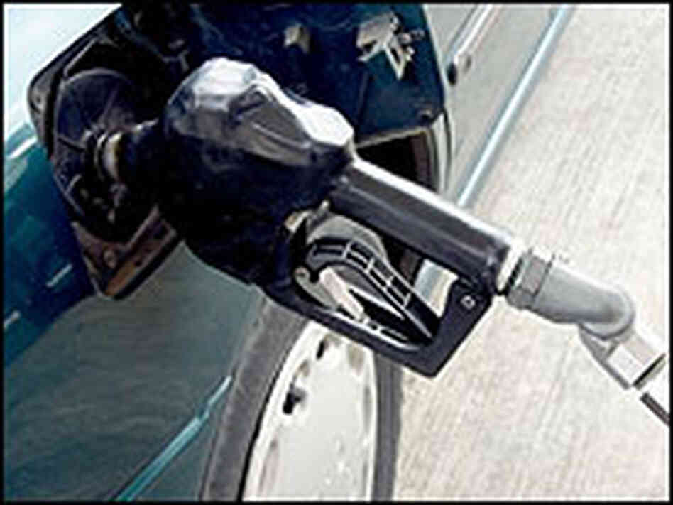 A car fuels up with an ethanol-gasoline blend.