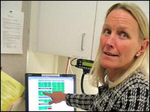 Nurse Chris Martin at Harborview Hospital in Seattle. Credit: Richard Knox, NPR.