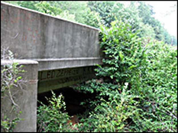 Moore's Ford Bridge was the site of the 1946 attack on four young black citizens. Click enlarge to see the underside of the bridge, a hot spot for graffiti, that includes the letters KKK.
