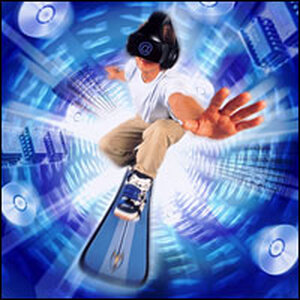 Teen boy on surfboard surrounded by digital imagery