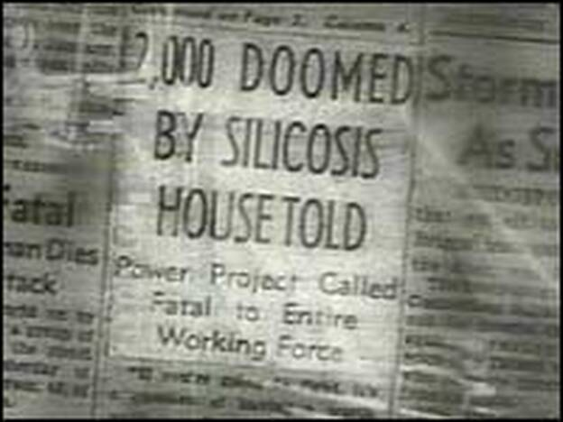 An image from Stop Silicosis, a 1938 video on the dangers of the disease put out by the Labor Department in response to the Hawk's Nest disaster. The video helps illustrate the silicosis panic of the 1930s.