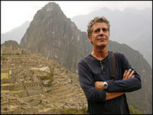 Chef, author and TV show host Anthony Bourdain at the Incan ruins of Machu Picchu