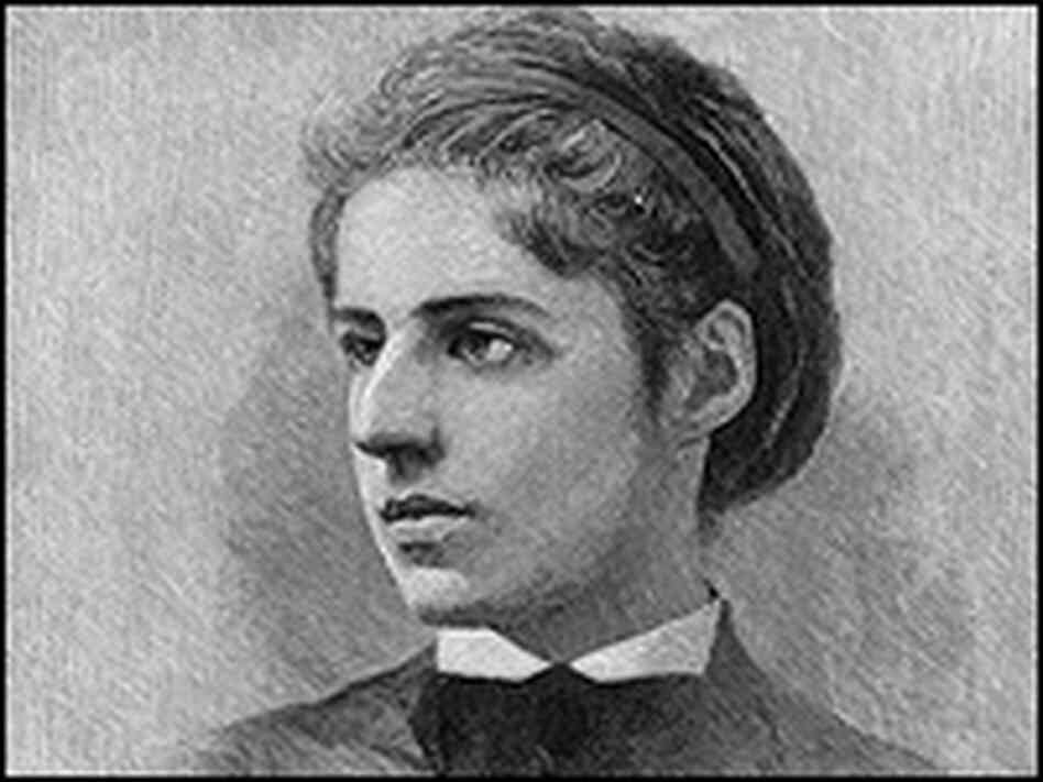 This sketch of Emma Lazarus was made in about 1880, when she was about 30 years old. The poet lived