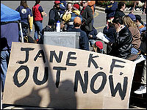 Gallaudet University students post a sign demanding in-coming president, Jane Fernandes, to resign.