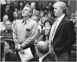 Dennis Fritz (left) and Ron Williamson are exonerated on April 15, 1999 of murder charges