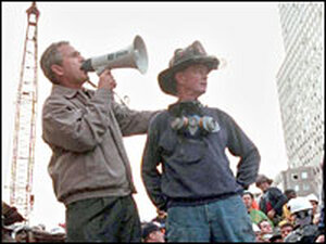 President Bush speaks to rescue workers at Ground Zero a few days after the attacks of Sept. 11, 200