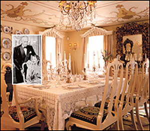 A shot of the dining room at Ten Chimneys includes an inset photo of Alfred Lunt and Lynn Fontanne.