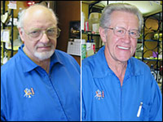 Bill King (left) and Gary Johnson, barbers in Owatanna, Minn., say the Iraq war is a significant issue for voters in the state's 1st Congressional District, where Republican incumbent Gil Gutknecht faces a tight race against Democratic challenger Tim Walz.
