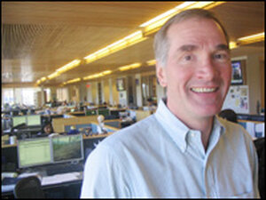 David Swensen stands on the trading floor at Yale