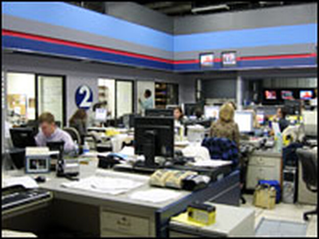 The newsroom at WKRN Nashville, an ABC ffiliate that has converted its entire newsroom into a staff of video journalists. They were the first of two stations in the country to transform their whole staff to the model.
