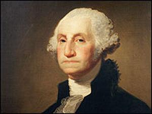 A 1796 Gilbert Stuart painting of George Washington.