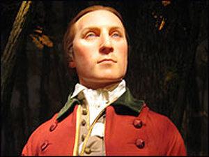George Washington, depicted as a 19-year-old surveyor.