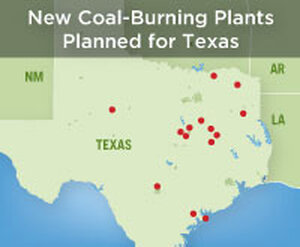 Map of proposed coal plant locations