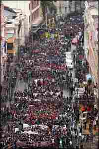 Thousands of Chilean students march during a massive protest rally in the streets of Valparaiso