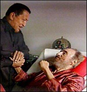 Fidel Castro greets Venezuelan President Hugo Chavez