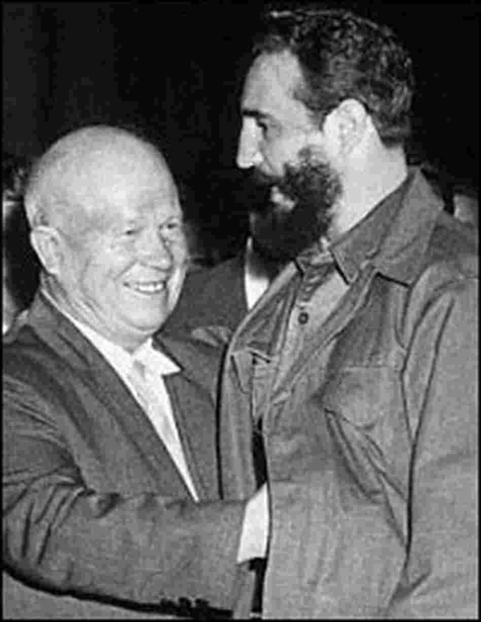 Soviet premier Nikita Khrushchev hugs Castro at a 1960 meeting in New York City.