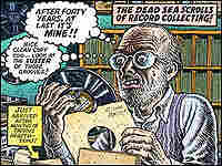 Detail from the CD cover shows maniacal cartoon man with a record album.